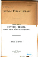 Finding List of History, Travel, Political Science, Geography, Anthropology