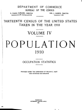 Population 1910: Occupational statistics