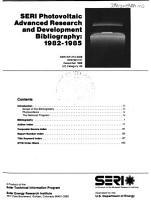 SERI Photovoltaic Advanced Research and Development Bibliography  1982 1985 PDF