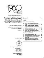 1980 census of population and housing: supplementary report : provisional estimates of social, economic, and housing characteristics : states and selected standard metropolitan statistical areas