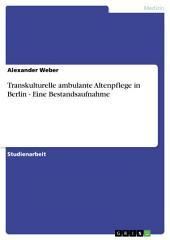 Transkulturelle ambulante Altenpflege in Berlin - Eine Bestandsaufnahme