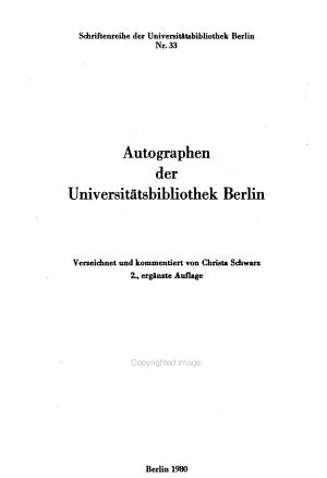 Autographen der Universit  tsbibliothek Berlin