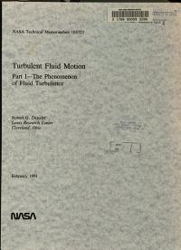 Turbulent Fluid Motion  Part 1  The Phenomenon of Fluid Turbulence PDF