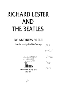 Richard Lester and the Beatles PDF