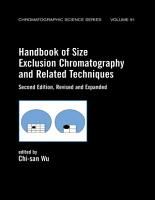 Handbook Of Size Exclusion Chromatography And Related Techniques PDF