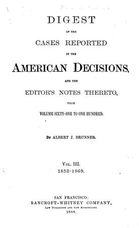 Digest of the American Decisions PDF