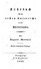 Lehrbuch für den ersten Unterricht in der Philosophie