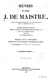 Oeuvres du Comte J. de Maistre
