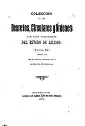 Coleccion de los decretos, circulares y ordenes de los poderes legislativo y ejecutivo del estado de Jalisco ...: Comprende la legislación del estado desde octubre de 1860, en que triunfó en Jalisco la revolución de reforma, hasta ..., Volumen 14