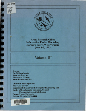 Army Research Office Information Fusion Workshop  Harper s Ferry  West Virginia  June 1 3  1993