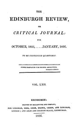 THE EDINBURGH REVIEW  OR CRITICAL JOURNAL  FOR OCTOBER 1835    JANUARY  1836 PDF