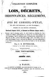 Collection complète des lois, décrets d'intérêt général, traités internationaux, arrêtés, circulaires, instructions, etc: Volume27