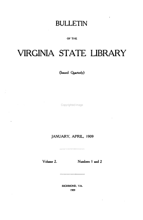 Bulletin of the Virginia State Library PDF