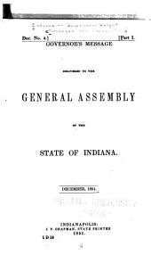 Governor's Message Delivered to the General Assembly of the State of Indiana, December, 1851