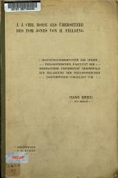 J.J.Chr. Bode als Übersetzer des Tom Jones von H. Fielding