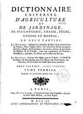 Dictionnaire universel d'agriculture et de jardinage, de fauconnerie, chasse, pêche, cuisine et manège...