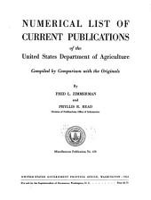 Numerical List of Current Publications of the United States Department of Agriculture
