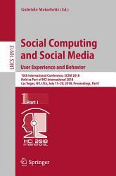 Social Computing and Social Media  User Experience and Behavior PDF