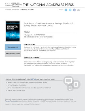 Final Report of the Committee on a Strategic Plan for U S  Burning Plasma Research PDF