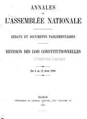 Annales de l'Assemblée nationale: Débats et documents parlementaires. Revision des lois constitutionnelles du 4 au 13 août 1884, Volume10,Partie1