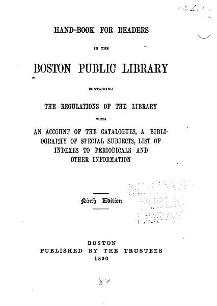 Download Hand book for Readers in the Boston Public Library Book