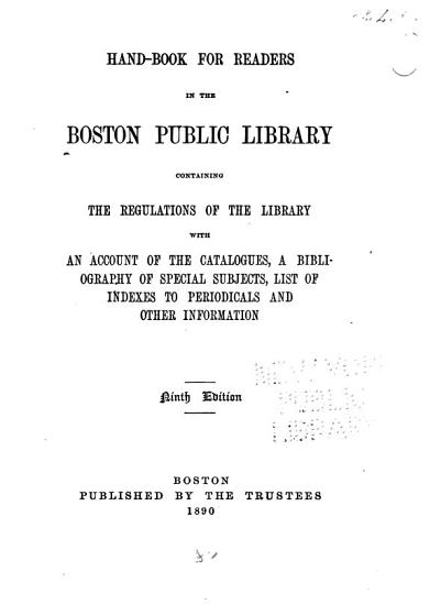Hand book for Readers in the Boston Public Library PDF