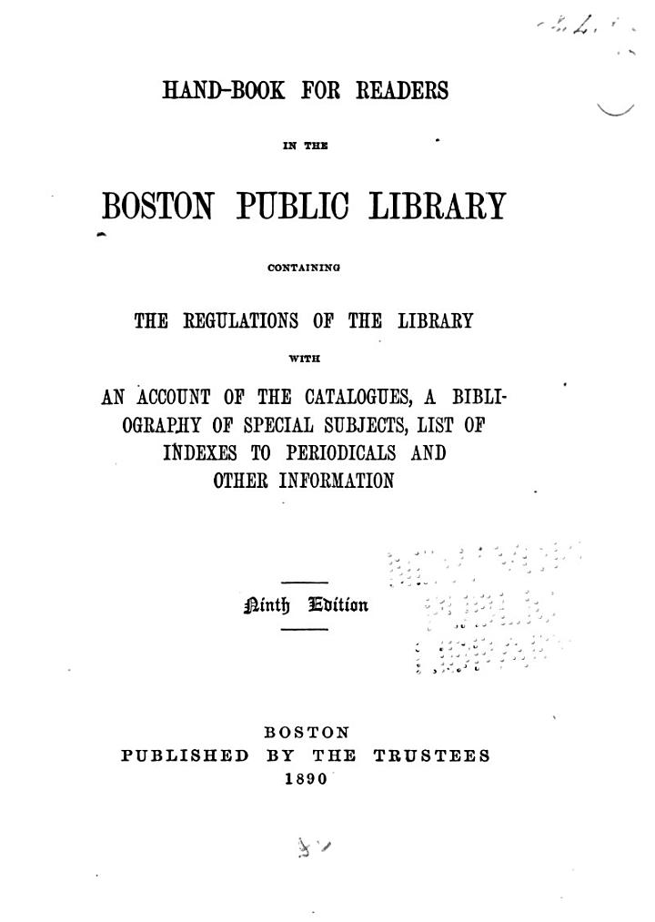 Hand-book for Readers in the Boston Public Library