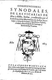 Constituciones synodales de las Vicarias de Alaua y Aliste