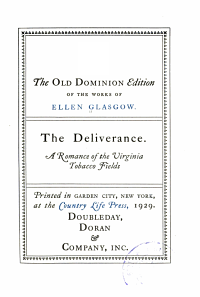 The Old Dominion Edition of the Works of Ellen Glasgow ...: Battle-ground