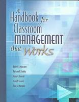 A Handbook for Classroom Management that Works PDF