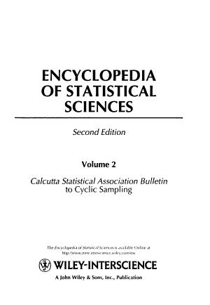 Encyclopedia of Statistical Sciences  Volume 2