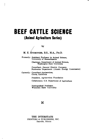 Beef Cattle Science PDF