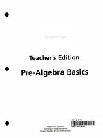 Pre algebra Basics Intervention Unit Workbook Teacher s Edition PDF