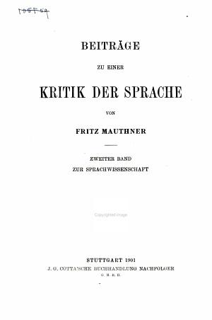 Beitr  ge zu einer Kritik der Sprache  Zur Sprachwissenschaft PDF