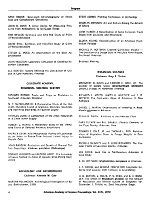 Proceedings of the Arkansas Academy of Science