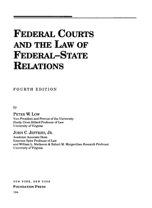 Federal Courts and the Law of Federal state Relations PDF