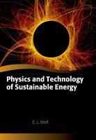 Physics and Technology of Sustainable Energy PDF