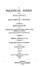 A Political Index to the Histories of Great Britain & Ireland: Volume 2