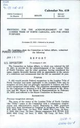 Providing for the Acknowledgement of the Lumbee Tribe of North Carolina  and for Other Purposes PDF