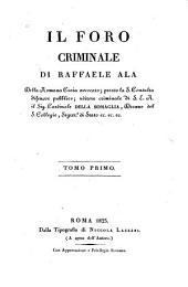 Il foro criminale: Volume 1