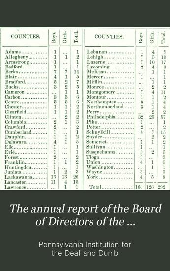 The Annual Report of the Board of Directors of the Pennsylvania Institution for the Deaf and Dumb PDF