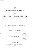 Die Geschichte und Literatur der Staatswissenschaften PDF