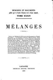 Mémoires et documents: Volume34