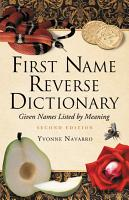 First Name Reverse Dictionary PDF