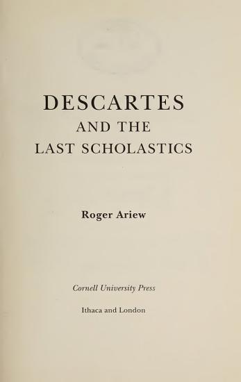 Descartes and the Last Scholastics PDF