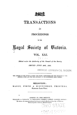 Transactions and Proceedings of the Royal Society of Victoria During the Years ..