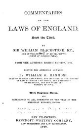 Commentaries on the Laws of England ...