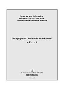 Bibliography of Occult and Fantastic Beliefes  vol 3 L R PDF