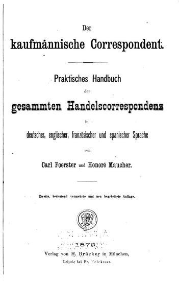 Der kaufm  nnische correspondent PDF