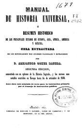 Manual de historia universal: o resumen histórico de los principales estados de Europa, Asia, África, América y Oceanía...